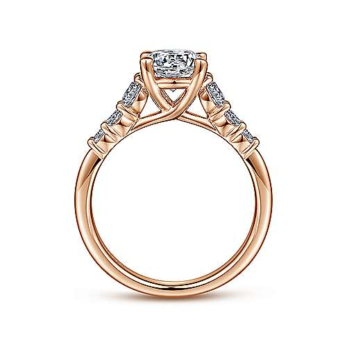 Darby 14k Rose Gold Round Straight Engagement Ring angle 2