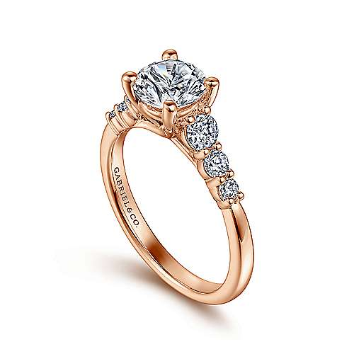 Darby 14k Rose Gold Round Straight Engagement Ring angle 3