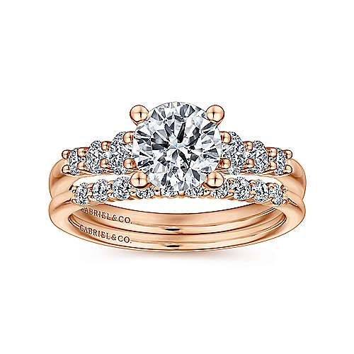 Darby 14k Rose Gold Round Straight Engagement Ring angle 4