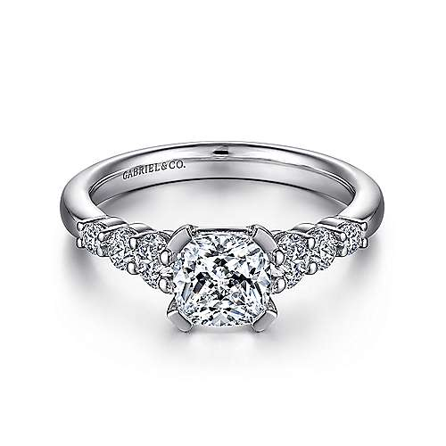 Gabriel - Darby 14k White Gold Cushion Cut Straight Engagement Ring