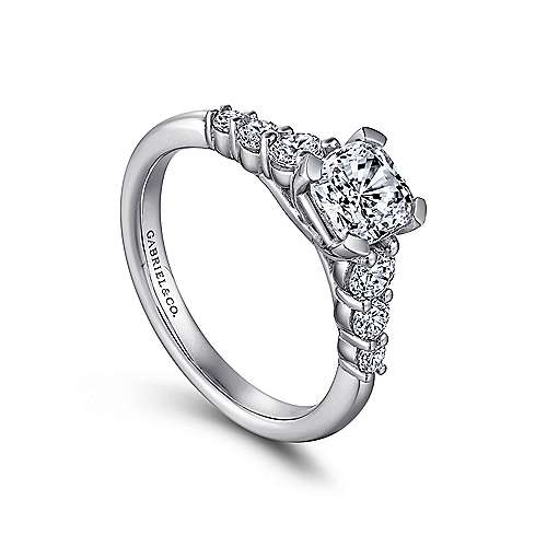 Darby 14k White Gold Cushion Cut Straight Engagement Ring angle 3