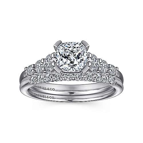 Darby 14k White Gold Cushion Cut Straight Engagement Ring angle 4