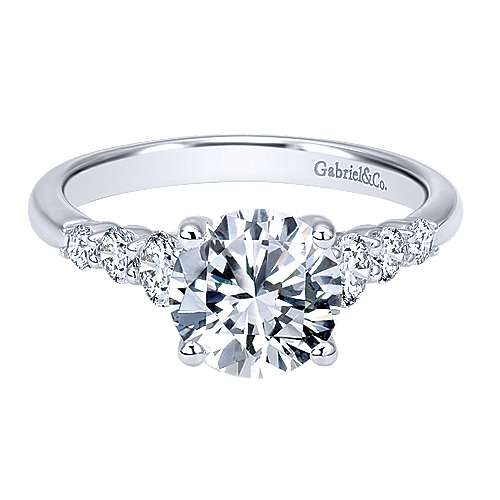 Darby 14k White Gold Round Straight Engagement Ring angle 1