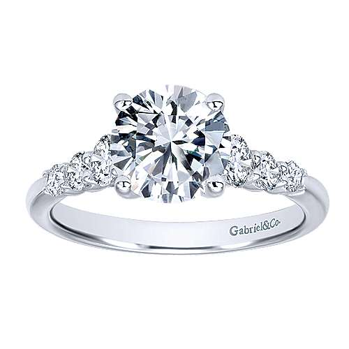 Darby 14k White Gold Round Straight Engagement Ring angle 5