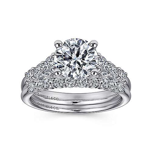 Darby 14k White Gold Round Straight Engagement Ring angle 4
