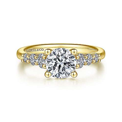 Darby 14k Yellow Gold Round Straight Engagement Ring angle 1