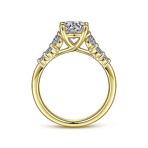 Darby 14k Yellow Gold Round Straight Engagement Ring angle 2