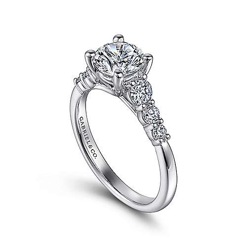 Darby Platinum Round Straight Engagement Ring angle 3
