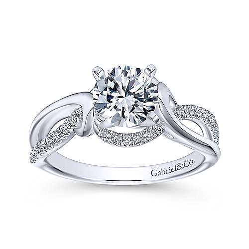Darcy 14k White Gold Round Twisted Engagement Ring