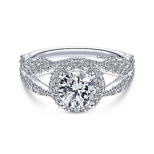 Gabriel - Dariela 14k White Gold Round Halo Engagement Ring