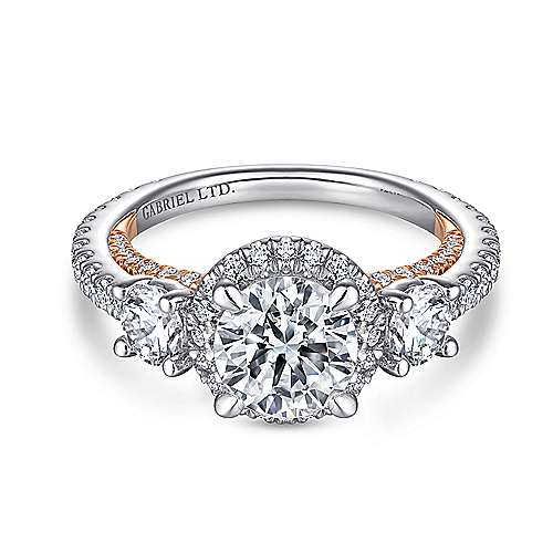 Darla 18k White And Rose Gold Round 3 Stones Halo Engagement Ring angle 1