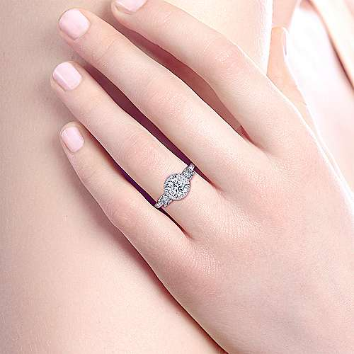 Darla 18k White And Rose Gold Round 3 Stones Halo Engagement Ring angle 6