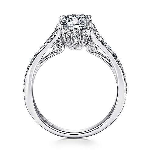 Darling 18k White Gold Round Split Shank Engagement Ring angle 2
