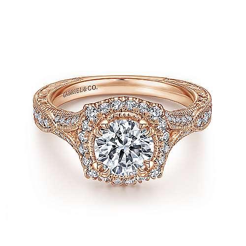 Darya 18k Rose Gold Round Halo Engagement Ring