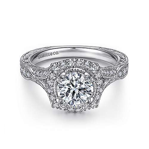 Gabriel - Darya 18k White Gold Round Halo Engagement Ring
