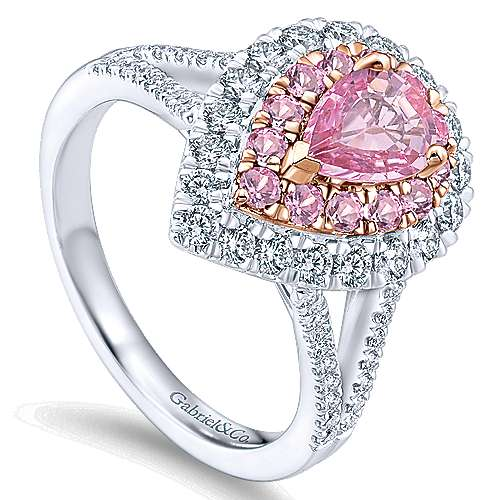 Dash 14k White And Rose Gold Pear Shape Double Halo Engagement Ring angle 3