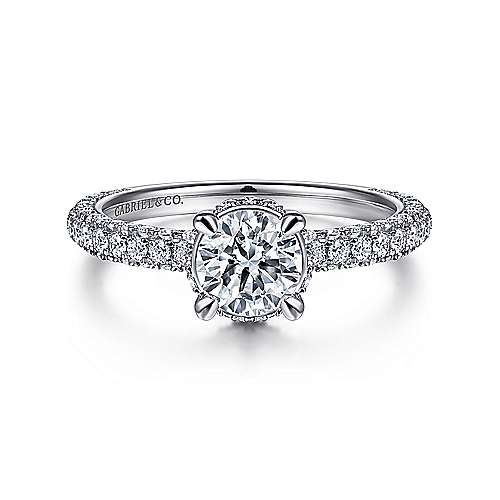 Gabriel - Dauphine 14k White Gold Round Straight Engagement Ring