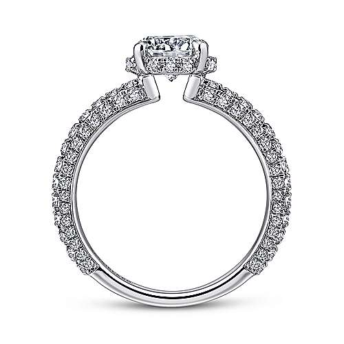 Dauphine 14k White Gold Round Straight Engagement Ring angle 2