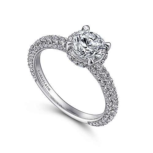 Dauphine 14k White Gold Round Straight Engagement Ring angle 3