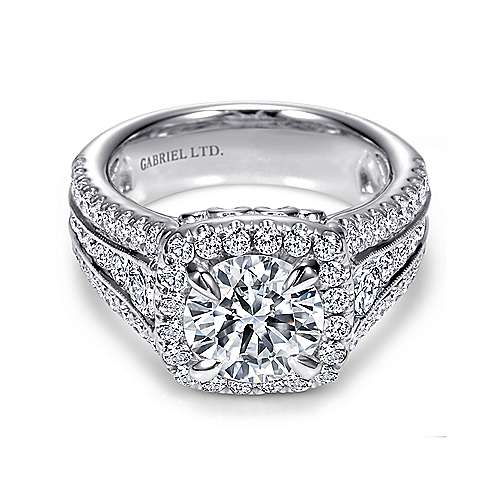 Gabriel - Dawn 18k White Gold Round Halo Engagement Ring