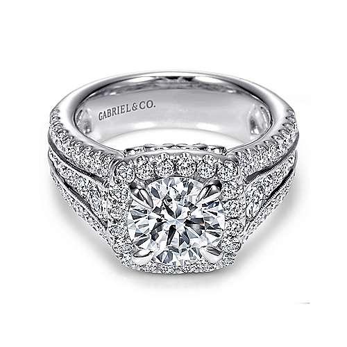 Gabriel - Dawn Platinum Round Halo Engagement Ring
