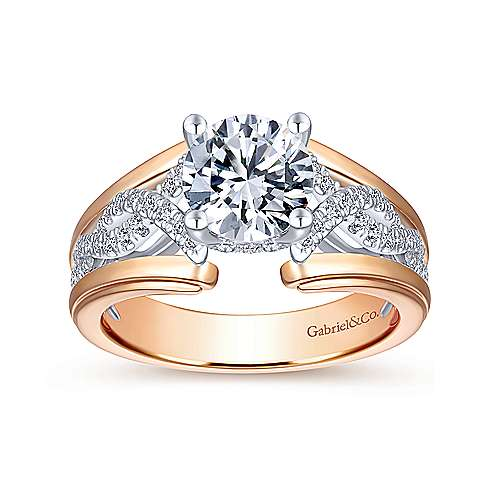 Dean 14k White And Rose Gold Round Straight Engagement Ring angle 5