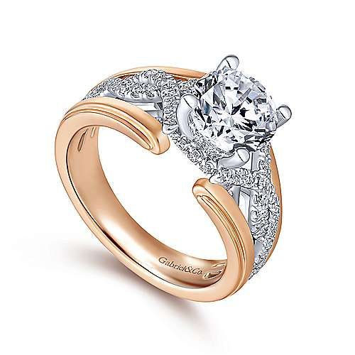 Dean 14k White And Rose Gold Round Twisted Engagement Ring angle 3
