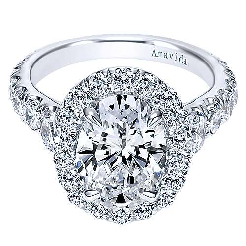 Deborah 18k White Gold Oval Halo Engagement Ring