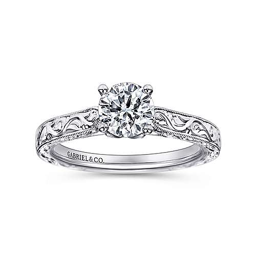 Dede 14k White Gold Round Straight Engagement Ring