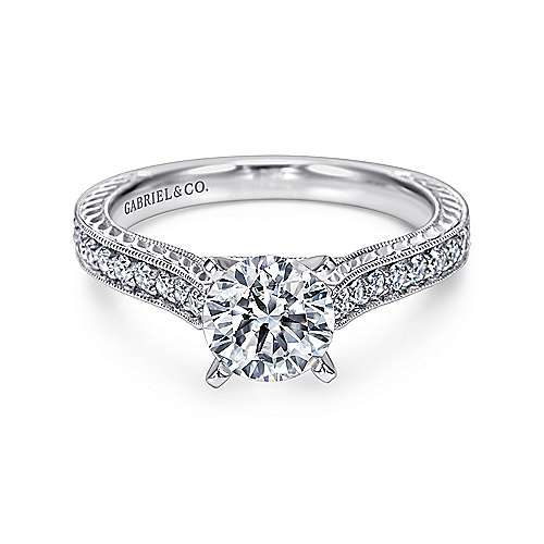 Gabriel - Dee 14k White Gold Round Straight Engagement Ring