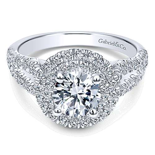 Gabriel - Deirdre 14k White Gold Round Double Halo Engagement Ring