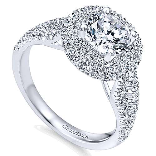 Deirdre 14k White Gold Round Double Halo Engagement Ring angle 3