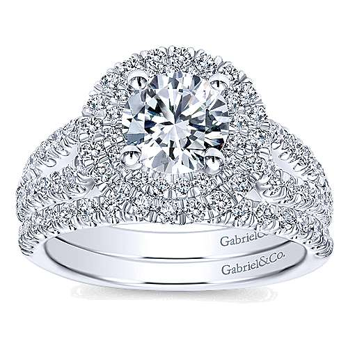 Deirdre 14k White Gold Round Double Halo Engagement Ring angle 4