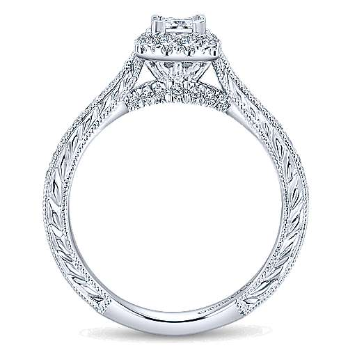Delancey 14k White Gold Princess Cut Halo Engagement Ring angle 2