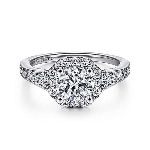 Gabriel - Delaney 14k White Gold Round Halo Engagement Ring