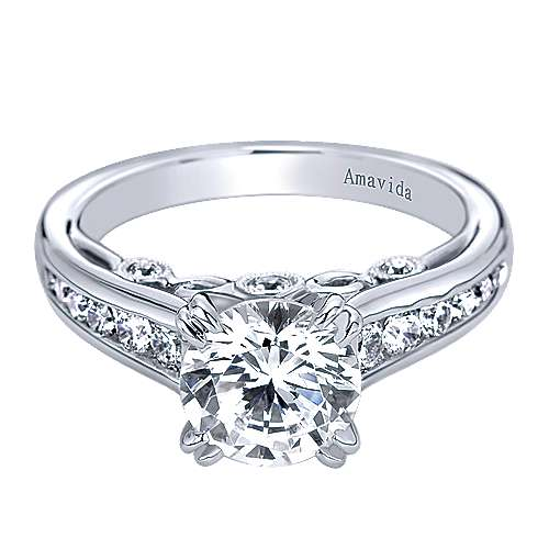 Delia 18k White Gold Round Straight Engagement Ring angle 1