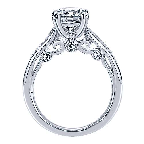 Delia 18k White Gold Round Straight Engagement Ring angle 2
