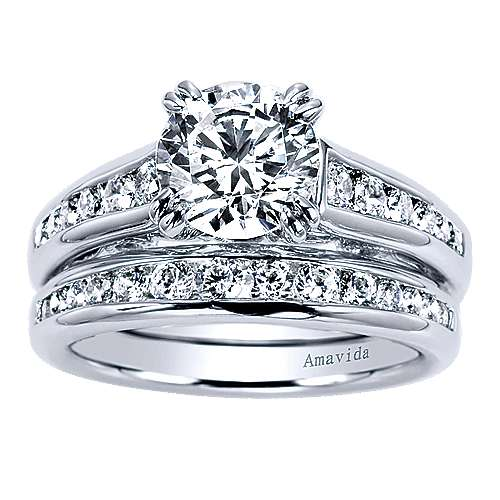 Delia 18k White Gold Round Straight Engagement Ring angle 4