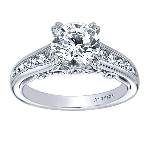 Delia 18k White Gold Round Straight Engagement Ring angle 5