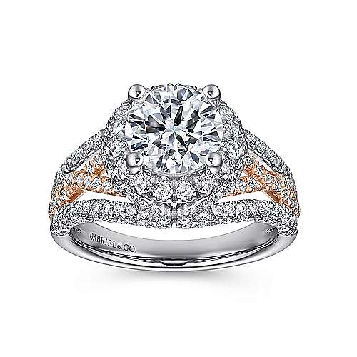 Delicacy 18k White And Rose Gold Round Halo Engagement Ring angle 5