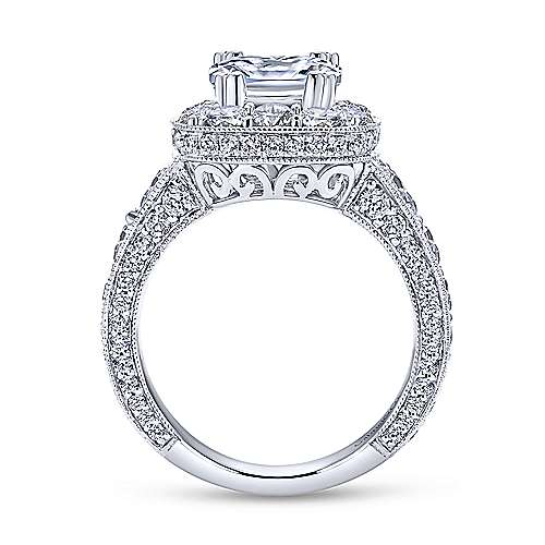 Delight 18k White Gold Cushion Cut Halo Engagement Ring