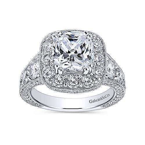 Delight 18k White Gold Cushion Cut Halo Engagement Ring angle 5