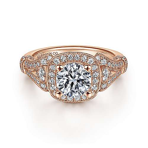 Gabriel - Delilah 14k Pink Gold Round Halo Engagement Ring