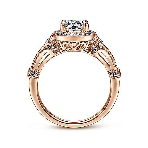Delilah 14k Pink Gold Round Halo Engagement Ring angle 2