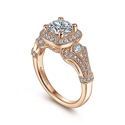 Delilah 14k Pink Gold Round Halo Engagement Ring angle 3