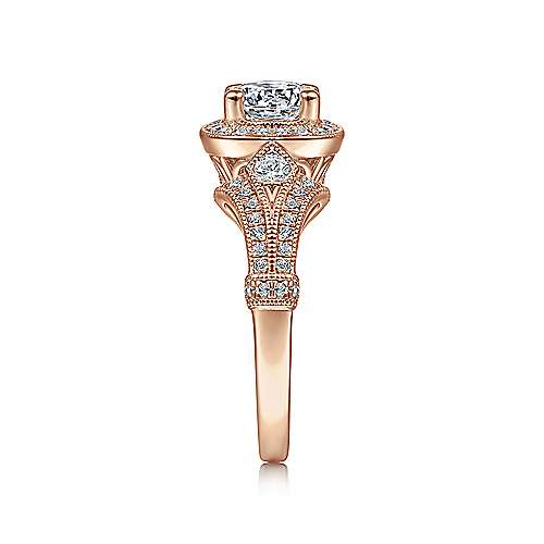 Delilah 14k Pink Gold Round Halo Engagement Ring angle 5