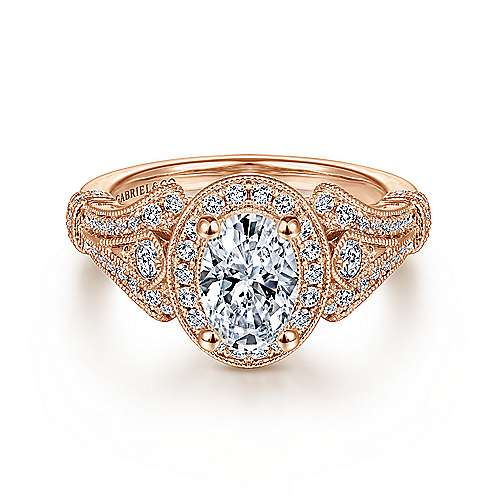 Gabriel - Delilah 14k Rose Gold Oval Halo Engagement Ring