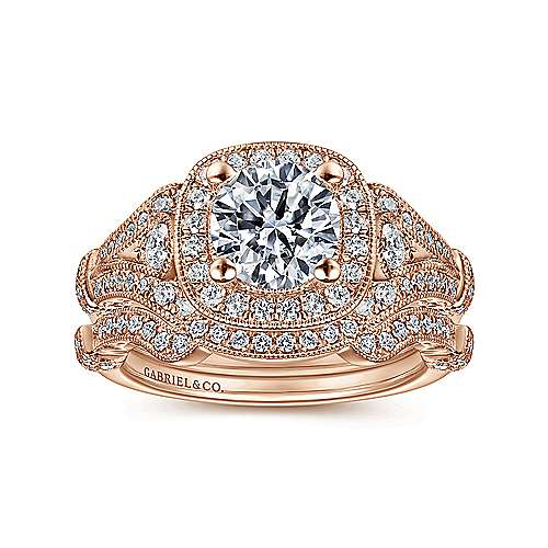 Delilah 14k Rose Gold Round Halo Engagement Ring angle 4