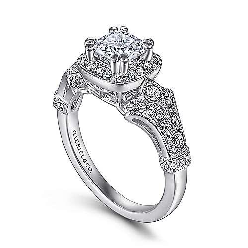 Gabriel K White Gold Victorian Halo Engagement Ring