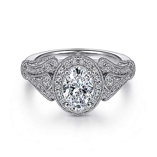 Gabriel - Delilah 14k White Gold Oval Halo Engagement Ring